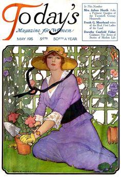 Vintage Magazine Cover - Artist Ruth Eastman - May 1915 Art Deco Illustration, American Illustration, Magazine Illustration, Art Vintage, Vintage Ephemera, Vintage Postcards, Vintage Images, Vintage Prints, Vintage Artwork