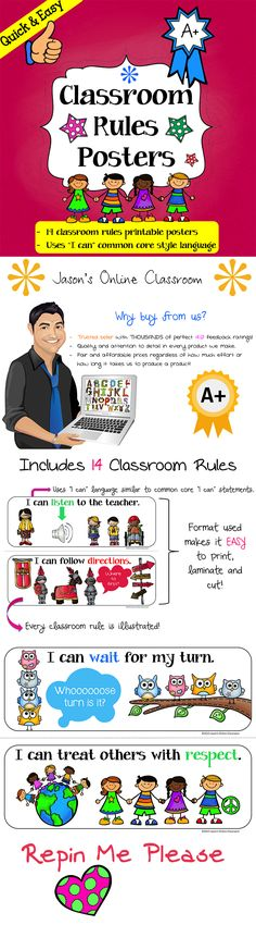 """This resource includes 14 illustrated classroom rules posters written in familiar """"I can..."""" style language. The posters are formated so that 2 rules (posters) print per 1 page of paper in landscape format. All you have to do is cut directly down the middle of the page on the dotted line and the resource is ready to use. Formatting allows for easy lamination and can be used in a variety of ways including pocket charts or classroom bulletin board displays. $4"""