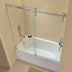 frameless glass bathtub doors with glass half wall DreamLine