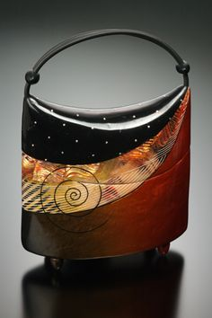 Kathleen Dustin ~ 'Pondering the Future' purse with sterling silver studs and either shoulder or handheld rubber cord