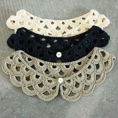 always looking for crochet collars. Crochet Collar Pattern, Col Crochet, Crochet Lace Collar, Crochet Shawl, Crochet Stitches, Crochet Patterns, Diy Crafts Crochet, Crochet Projects, Pinterest Crochet