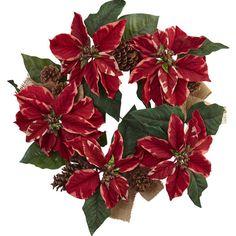 Poinsettia, Pine Cone & Burlap Wreath