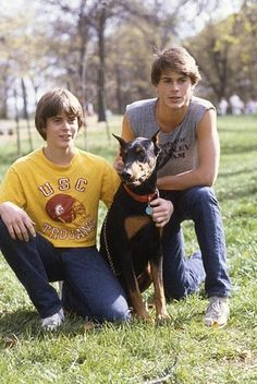 The set of The Outsiders with C. Thomas Howell and Rob Lowe