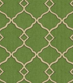 Waverly sun n shade outdoor fabric- chippendale fretwork in moss.  Sort of obsessed with lattice patterns right now.  Curtains, definitely.