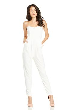 6960bf89dd6a Chic Strapless Jumpsuit in Ivory S - L