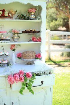 Vintage Hutch Dessert Station - Cheri's Vintage Table