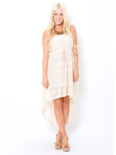 Lace high-low dress. Would look cute with blue jean jacket and boots. My kinda country!!!