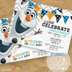 Olaf PRINTABLE Frozen Invitation by SplendidINK on Etsy, $15.00