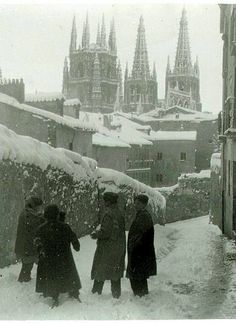 Burgos Cathedral and children playing with snow in the 1930s, Spain