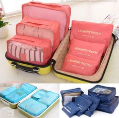6 Pcs Set Waterproof Clothes Storage Bags Packing Cube Travel Luggage Organizer | eBay