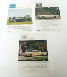 Lot Of 3 Vintage 1966 Lincoln Continental Magazine Ads - Ford