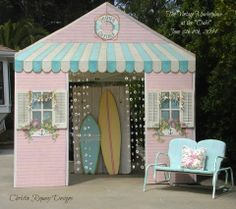 """June is always a show that represents Summer to us at """" The Vintage Marketplace """" and our theme is Bohemian Beach so I did a little summer cottage for my booth façade . Mark your calendars to come out to see us I'm sure you won't be disappointed, we have the most talented awesome vendors! June 6th- 8th, 2014"""