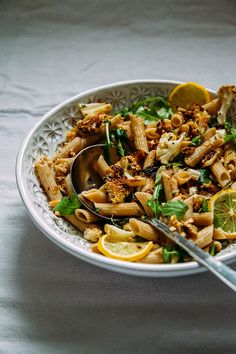 roasted garlic + cauliflower pasta with walnuts » The First Mess // Plant-Based Recipes + Photography by Laura Wright