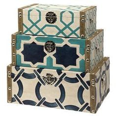 This could be a fun DIY...just get some different sized cigar boxes, cover with matchy but different wrapping paper and a burlap ribbon with nail heads. love the colors.