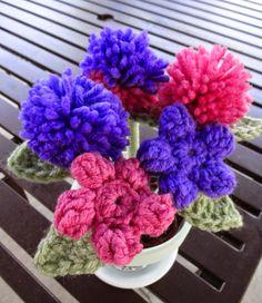 Teacher Appreciation Gift. Pink and purple crochet flower pens in pot.