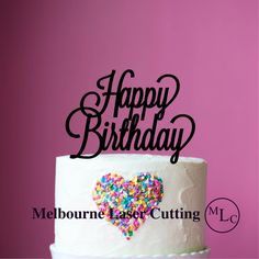 Personalised Acrylic Happy Birthday Cake Topper by MelbourneLaser