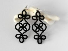 Frivolite // Classic black earrings, unique lace pattern, handmade jewellery » Little Black Lace