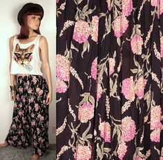 vintage sheer wide leg pants // floral print by BexVintage on Etsy, $32.00