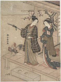 Suzuki Harunobu (Japanese: 1725~1770) - Gentleman Taking Leave of His Lady on a Veranda