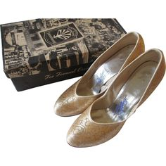Womens Party Shoes Vintage 1950s Round Toe Pumps Silver Gold Metallic Brocade In Box  http://www.rubylane.com/item/676693-ACC235/Womens-Party-Shoes-Vintage-1950s-Round
