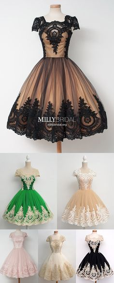 Modest Prom Dresses Ball Gown,Vintage Homecoming Dresses Lace,Elegant Prom Dresses Cap Sleeves,Tulle Prom Dresses Tea-length Elegant Party Dresses, Affordable Prom Dresses, Trendy Dresses, Formal Dresses, Graduation Dresses Long, Cute Homecoming Dresses, Pageant Dresses For Teens, Military Ball Dresses, Simple Prom Dress