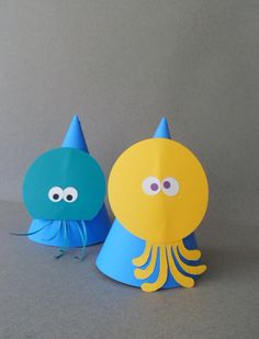Party Under The Sea birthday hats by PAPALOTES on Etsy, $10.99