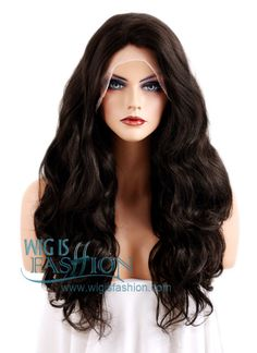 """18""""-28"""" Long Curly Natural Black Customizable Lace Front Synthetic Hai"""