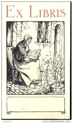 Anton Pieck (1895-1987), Dutch / bookplate depicts old woman reading book outside cottage, with Ex Libris lettering and blank banner for personalizing
