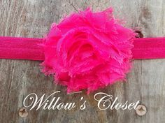 Dark Pink Chiffon Flower on Elastic Headband by WillowFayesCloset, $4.50