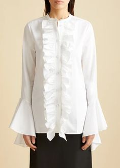 The Callen Dress in Ivory – KHAITE Tweed Coat, Box Pleats, Sleeve Designs, Covered Buttons, Satin Dresses, Business Fashion, Pleated Skirt, Ruffle Blouse, Tunic Tops