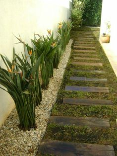 Do you need landscaping ideas for side yards that are long and narrow and present a design challenge? Steal these cheap and easy landscaping ideas? for a beautiful backyard. Garden Shrubs, Garden Paths, Small Gardens, Outdoor Gardens, Side Yard Landscaping, Landscaping Design, Balkon Design, Landscape Design Plans, Side Garden