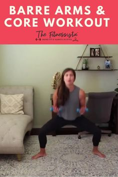 This is a barre arms and core workout that you can do anywhere. All you need is a light pair of dumbbells, ranging from 2-5 lbs. This workout uses some of my favorite barre-based exercises, and focuses on muscular endurance for the weights segment. I threw in some cardio blasts for good measure. | At-Home Workouts for Women | The Fitnessista At Home Workouts For Women, Best At Home Workout, Workout Routines For Beginners, Full Body Workout Routine, Workout List, Workout Schedule, Barre Workouts, Quick Workouts, Cardio