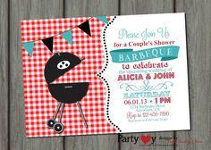 Paares BBQ Dusche Hochzeitseinladung - digitale Datei