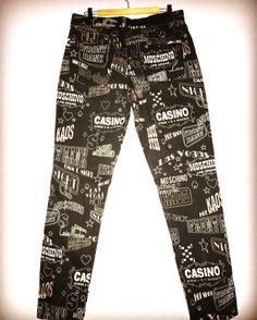 RESERVED - Las Vegas print vintage Moschino Jeans casino print cotton pants  Casino peace sign words letters Moschino jeans Las Vegas