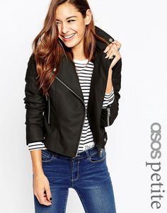 Image 1 of ASOS PETITE Ultimate Biker Jacket with Piped Detail