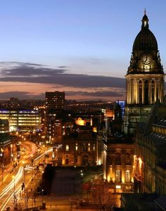 Leeds city center at night, Leeds, England, Yorkshire. West Yorkshire, Yorkshire England, Leeds England, England And Scotland, Great Places, Places To See, Beautiful Places, Beautiful Sunset, Top European Destinations