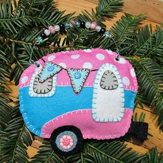 Wool Felt Glamping Camper Ornament Hanger Pink & by FHGoldDesigns Tag Blanket, Blanket Stitch, Felt Ornaments, Christmas Ornaments, Pink Turquoise, Copper Color, Ribbon Bows, Glamping, Wool Felt