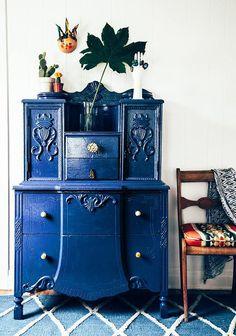cobalt blue entryway credenza