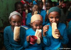 One of our favorite photos: these three girls in Ethiopia enjoy some bread and tea through our Food For Kids project, which sends food to kids in 18 countries. http://goodneighbors.org/food-for-kids