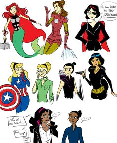 DISNEY PRINCESS AVENGERS ASSEMBLE!  ariel - thor  belle - tony/iron man  snow white - nick fury  aurora/sleeping beauty - steve rogers/cpt america  cinderella - dr. bruce banner/the incredible hulk  mulan - hawkeye  jasmine -  black widow  esmeralda - agent phil coulson  tiana - agent maria hill,  and none for loki laufeyson, bye!