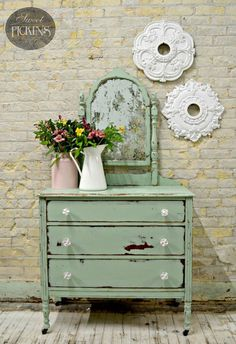"""An idea for paint color & a mirror for my antique dresser! The green dresser is painted with Sweet Pickins Milk Paint in """"Pantry Door."""" ~ Sweet Pickins Milk Paint - Acid Mirror tutorial"""