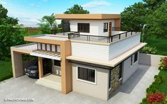 Meet Kassandra, two storey house design with roof deck. The ground floor has a total floor area of 107 square meters and 30 square meters at the second floor Modern Roof Design, House Roof Design, Modern Small House Design, 2 Storey House Design, Modern Bungalow House Plans, Bungalow House Design, Two Storey House Plans, My House Plans, Dream House Exterior