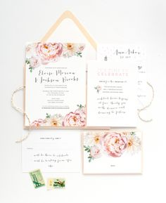 Blush and green wedding invitation suite