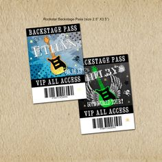 Rockstar Birthday VIP Backstage Passes - Party like a Rockstar- Rock n Roll Birthday - Custom, Digital, Printable designs