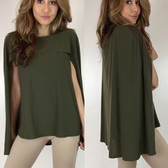 """Olive Cape Top S M L The perfect alternative to a blouse. A sophisticated & unique top in a stretchy comfy fabric. Size M measures 18"""" across the chest and measures 24"""" in length. 96% Poly 4% Spandex. Runs on smaller side. For size reference I am wearing Size S- 5'3""""-105lbs -Sz 0/2 * Please do not purchase this listing- Thank you! * Boutique Tops"""