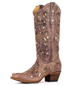 Corral Women's Brown Crater Bone Inlay & Studs Boot - A1098 - A little spendy but I LOVE THEM! I'll be saving for these :)