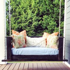 My awesome porch swing!!  Thanks Pallet and Crate!  Greenville, SC   Pallet Swing sized to Crib mattress by PalletandCrate on Etsy