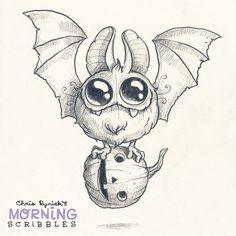 «Round Bat! #morningscribbles #halloween #october»