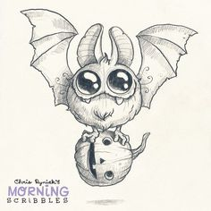 Round Bat! #morningscribbles #halloween #october