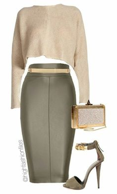 Classy outfit with a skin pencil skirt Outfits Classy Outfits, Chic Outfits, Fashion Outfits, Womens Fashion, Fashion Trends, Work Outfits, Office Outfits, Classy Clothes, Fashion Sets